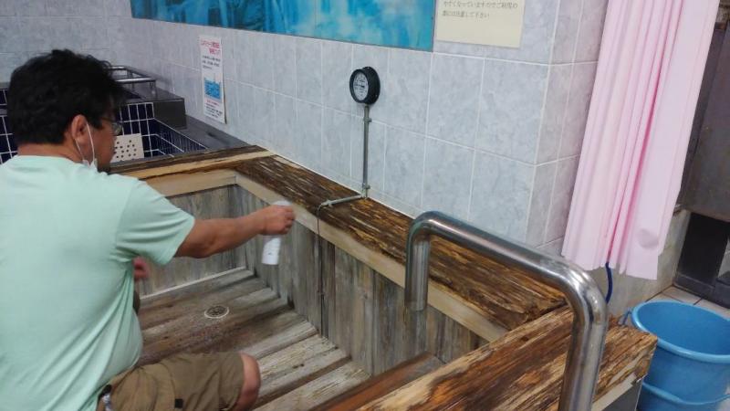 ヒノキ風呂メンテナンス